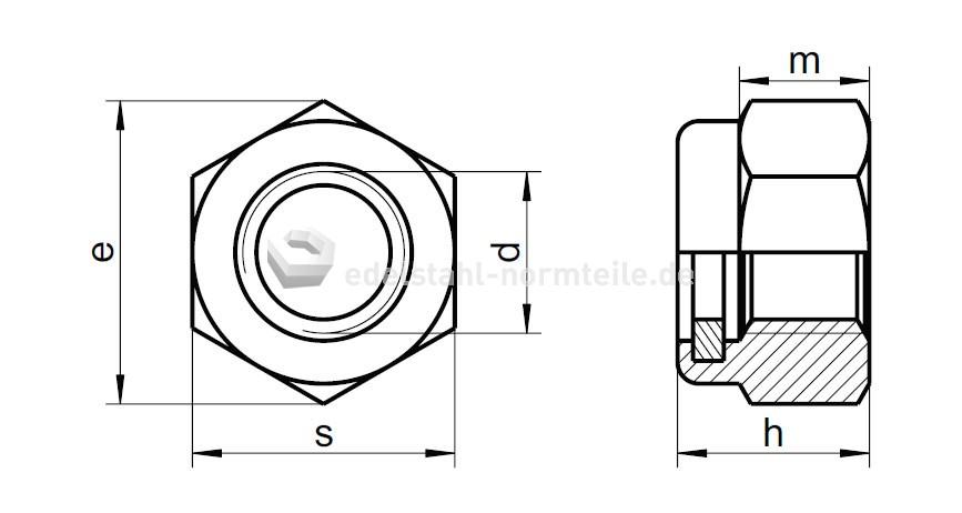 nironorm sechskantmutter selbstsichernd hohe form m4 a2. Black Bedroom Furniture Sets. Home Design Ideas